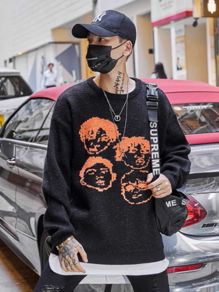 Sweater Men Cloth Streetwear Pullover Crew-Neck Jacquard Hip-Hop Dark-Icon