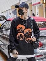 Dark Icon Jacquard Pullover Sweater Men Crew Neck Hip Hop Sweaters Streetwear Cloth Men