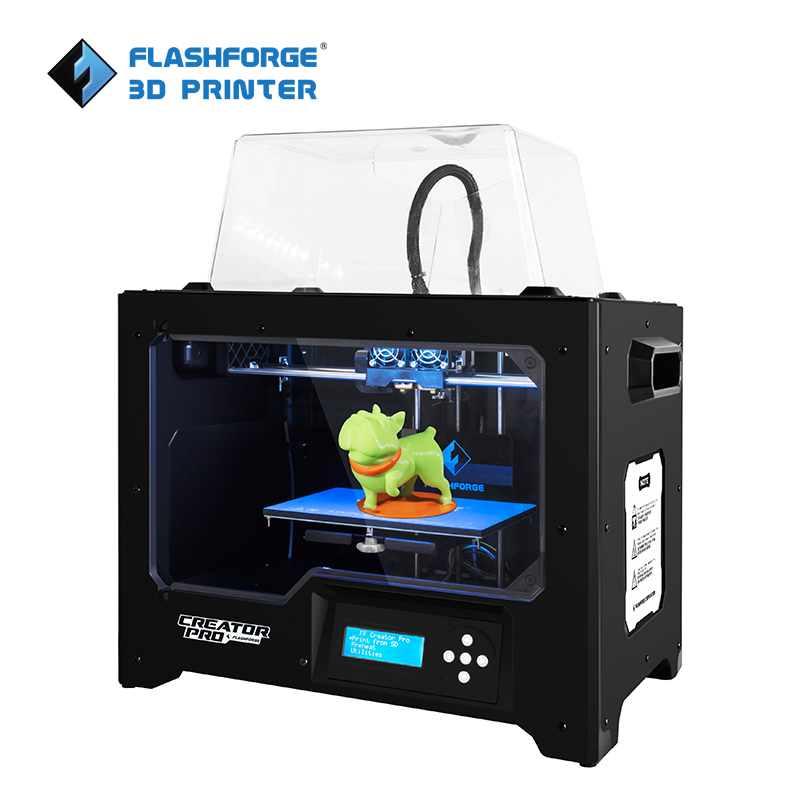 FlashForge 3D Printer Creator Pro Open Source 6,3 mm opvarmet aluminium build plate Dual Extruder W / 2 Spools Factory Outlet