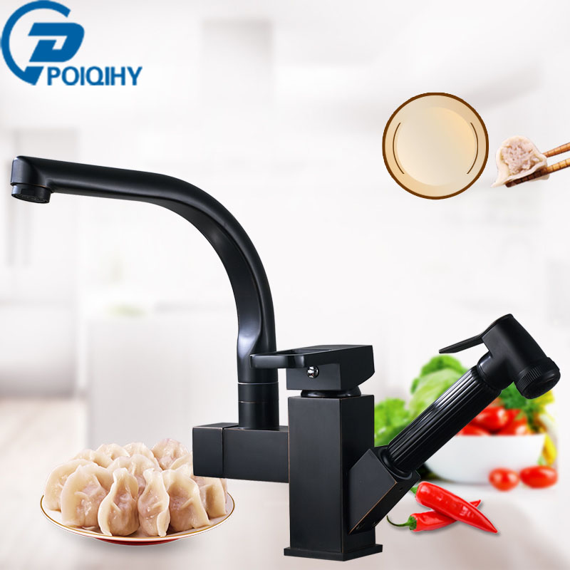 Brass Kitchen Faucet Pull Out Sink Faucets Mixer Cold and Hot Kitchen Tap Single Hole Water Tap torneira Brushed Nickel Finish black chrome kitchen faucet pull out sink faucets mixer cold and hot kitchen tap single hole water tap torneira