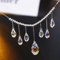 SWAN JEWELRY Luxury Crystal Necklace Refined Elegance Water Drop Pendant Necklace Women Girls Wedding Accessories Handmade DIY