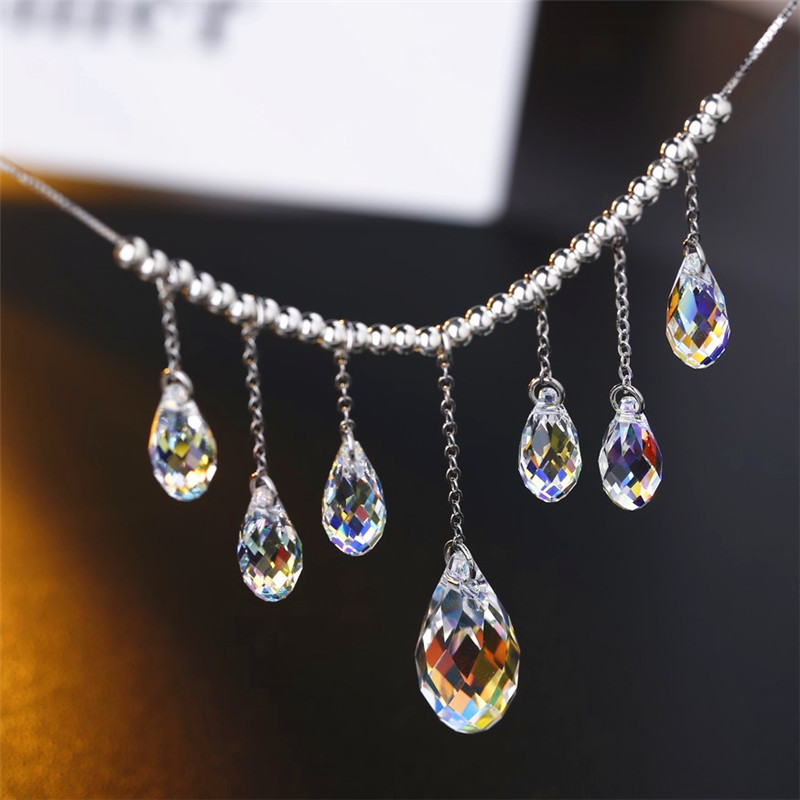 SWAN JEWELRY Luxury Crystal Necklace Refined Elegance Water Drop Pendant Necklace Women Girls Wedding Accessories Handmade DIY original quality a1398 bottom case d cover for apple macbook retina 15 2013 2014 year page 2