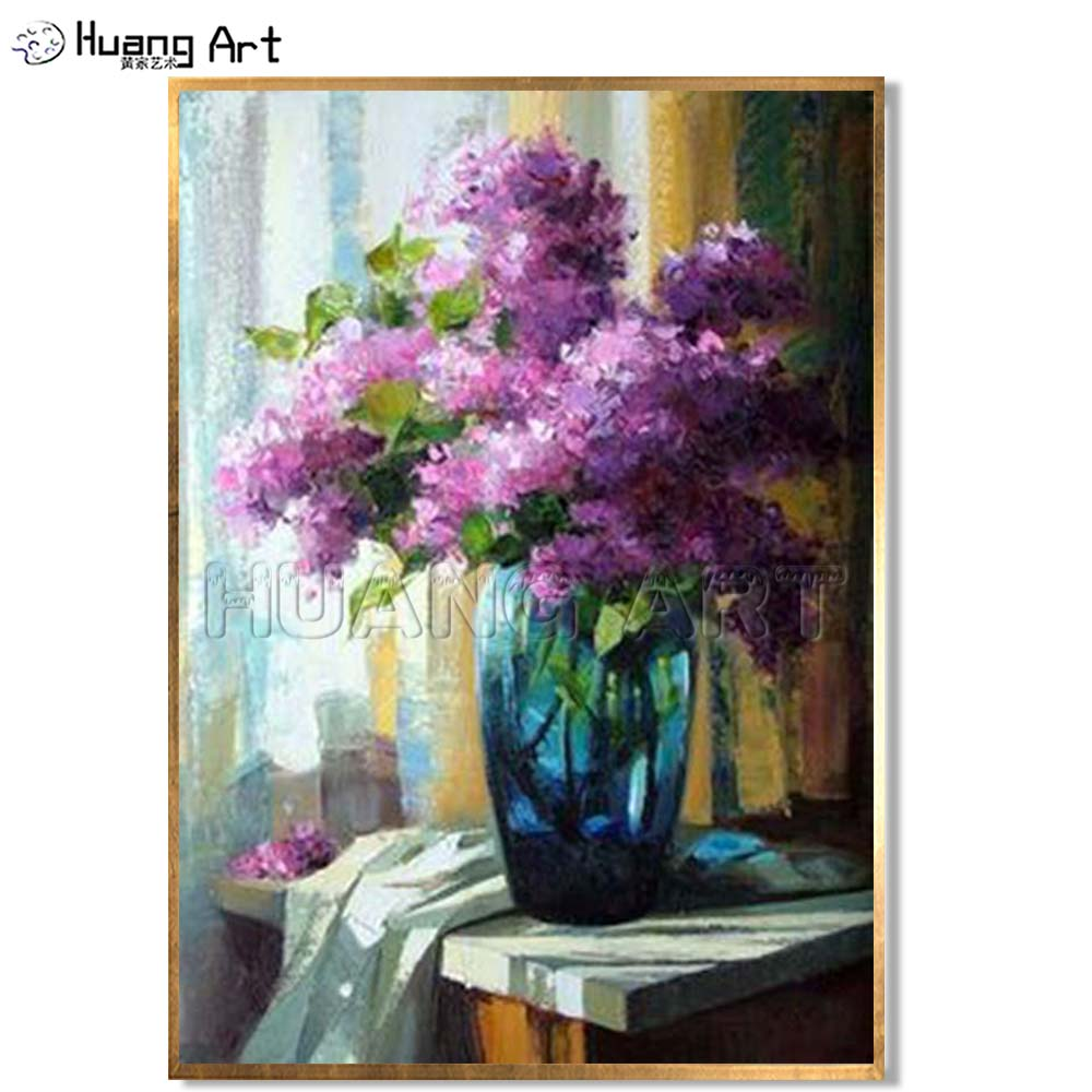 225 & Impression Purple Flower Oil Painting for Bed Room Wall Decor 100% Hand-painted Violet Flower Vase Oil Painting on Canvas