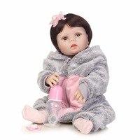 NPKCOLLECTION Полный Силиконовые Винил Куклы reborn в серый плюшевый Кот комплект реалистичные bebe кукла девочка дети со дня рождения подарок игрушки