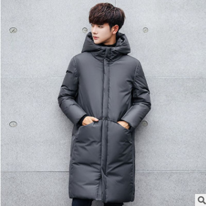 B 2018 New Long Thick Winter Coat Men Brand Clothing Black Solid Warm Hooded Jacket Male Quality   Parkas   Jacket