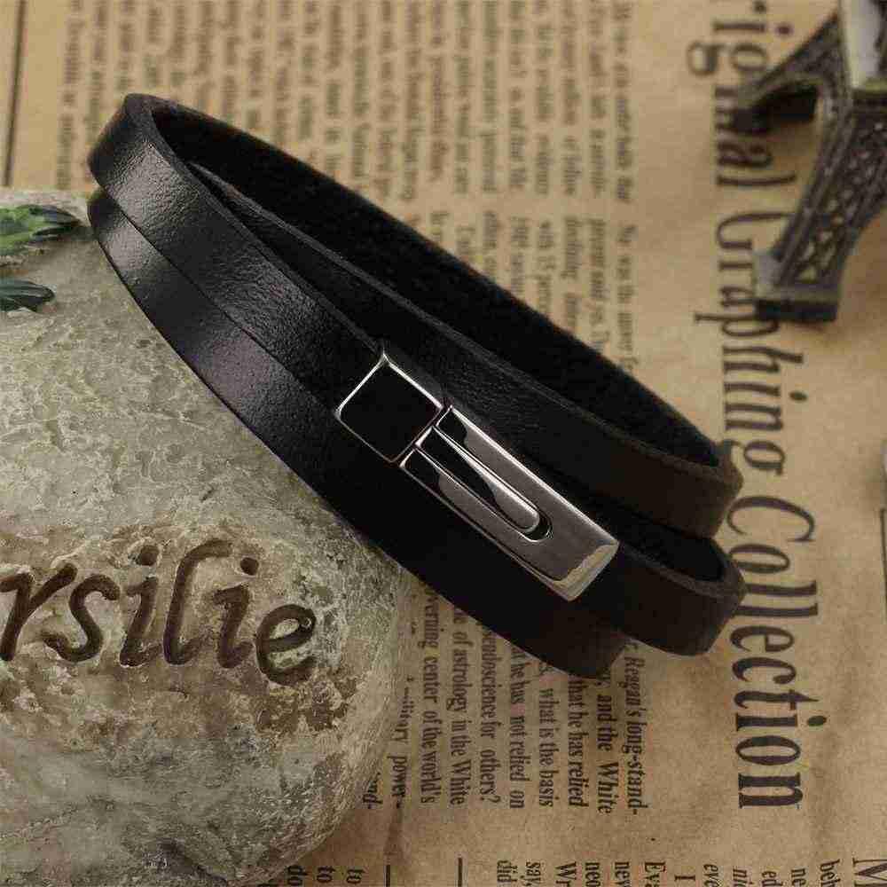 Hurtownie prawdziwej skóry modna męska bransoletka akcesoria 200mm bransoletki ze stali nierdzewnej i Bangles biżuteria (JewelOra BA101937)