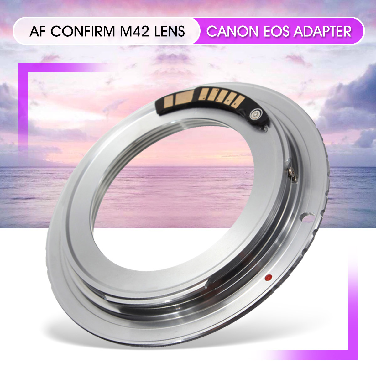 1 Pcs Latão AF Confirmar Chip De M42 Lens para a Canon para EOS Adaptador de Montagem 60D 50D 40D 600D 550D 500D prata