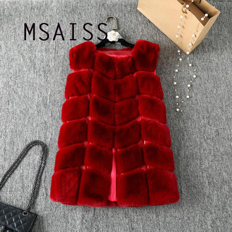 MSAISS Winter Rabbit Hair Fur Coat Women  Faux Fur Vest Plaid Warm PU Leather Pocket Jacket Women Fur Outerwear Feminino
