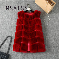 MSAISS Winter Rabbit Hair Fur Coat Women Faux Fur Vest Plaid Warm PU Leather Pocket Jacket Women Fur Outerwear feminino