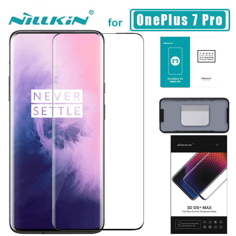 1+ 7 pro 3D DS+ Max Full Cover for OnePlus 7 Pro Glass Tempered Glass Screen Protector Round Edge 1+ 7 pro Nilkin HD Glass Film-in Phone Screen Protectors from Cellphones & Telecommunications