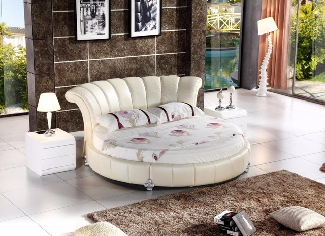 2017 Soft Bed Cabecero Cama Muebles Para Casa Rushed No Genuine Leather Soft Bed King Modern Bedroom Furniture Hot Sale Round