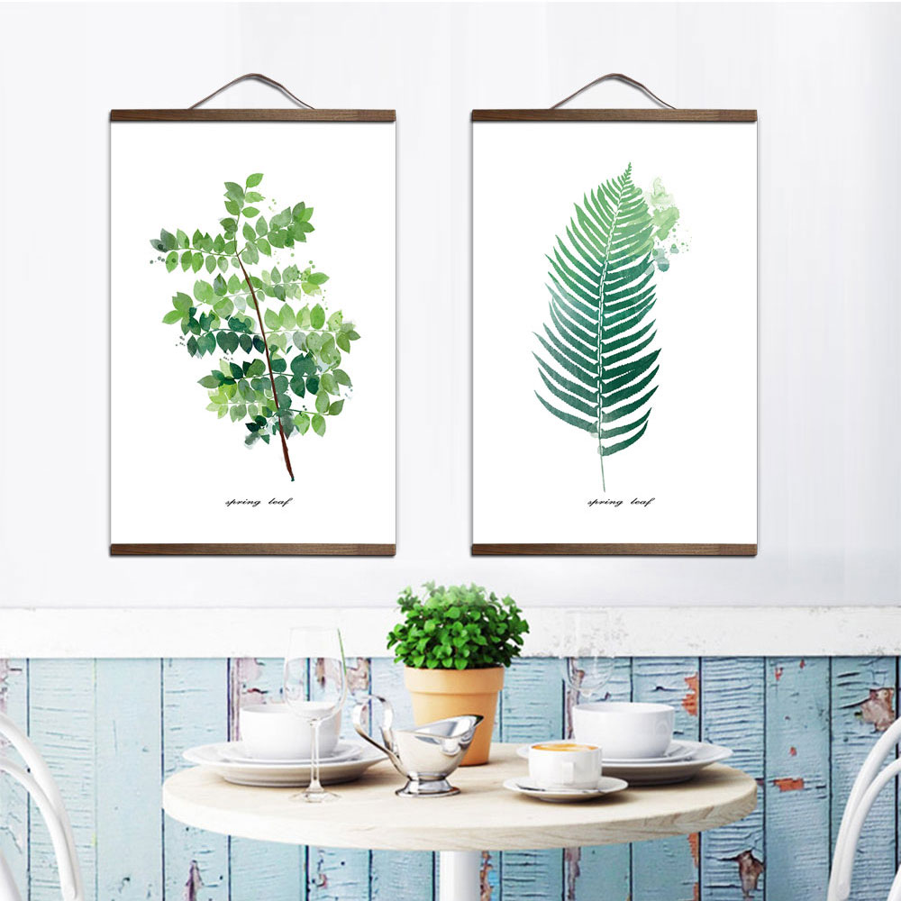 Us 9 2 20 Off Plant Leaves Poster Print Landscape Solid Wood Hanging Scroll Canvas Painting Wall Art Picture For Home Decoration Green Decor In