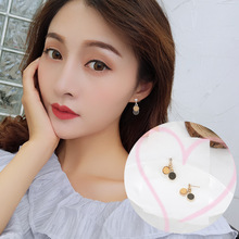 2019 New Korea Baitao Fashion Earring Disc Mori Simple Grinding Texture Circle Geometric Earpin