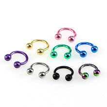 8 Pcs Colorful Steel Horseshoe Nose Septum Rings Ear Rings Body Piercing Nariz Jewelry Piercng 3 Sizes available 6 mm 8 mm 10 mm cheap Velishy Zinc Alloy Nose Rings Studs TRENDY Nose Lip ROUND Acrylic