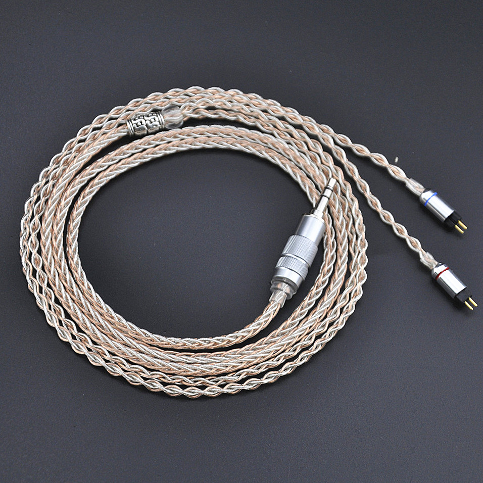 Wooeasy 8-core 3.5mm Balanced 0.78mm 2Pin Earphone Cable Silver With Copper Mixed Earphone Cable Use For KZ ZS5 Universal kwc km42 zs silver