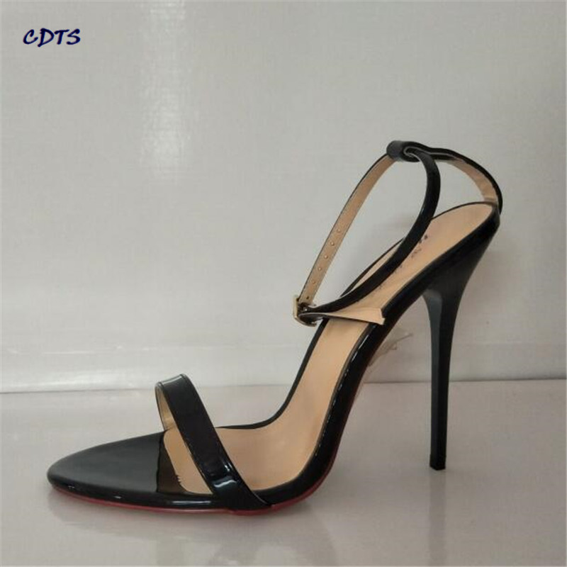 CDTS Summer 14cm Ultra high thin heels wedding shoes sexy pumps Peep toe Buckle Gold bottoms Sandals Plus:44 45 46 47 48 49 50 cdts summer ankle strap sandals hasp rhinestone paillette 17 18cm ultra thin high heels peep toe female shoes woman pumps