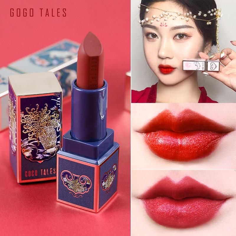 GOGOTALES Wasserdichte Nude Matte Samt Glossy Lip Gloss Lippenstift Lip Balm Sexy Red Lip Tint 6 Farben Frauen Mode Make-Up geschenk