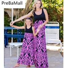 цена Fashion Mother Daughter Dresses Family Matching Clothes Geometry Print Family Look Dress Clothes Kids Parent Child Outfits C57 онлайн в 2017 году