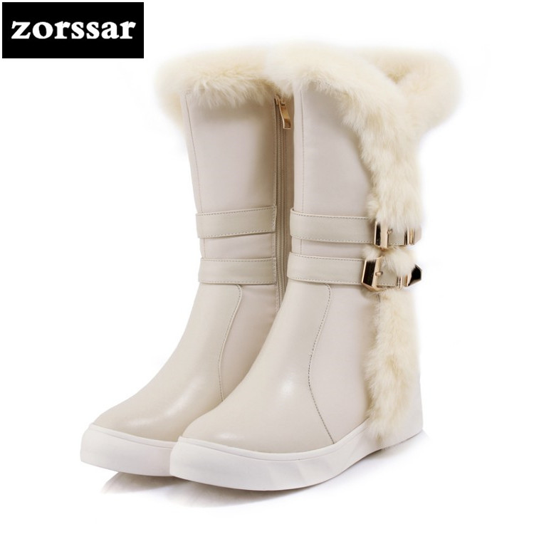 {Zorssar} Winter fur Women Boots High heel Leather mid-calf Snow Boots Female Warm Plush Insole shoes High Quality Botas Mujer zorssar 2019 women s shoes winter plush women snow boots cow suede leather flat ankle boots female warm fur insole botas mujer
