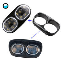 5.75'' Dual Motorcycle led headlight Accessories High/Low halo ring angel eyes for Harley Davidson Road Glide 2004~2013.