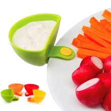 4 Pcs set Multi purpose Bright Color Mini Dip Clips Plastic Salad Dressings Container Serving Tray