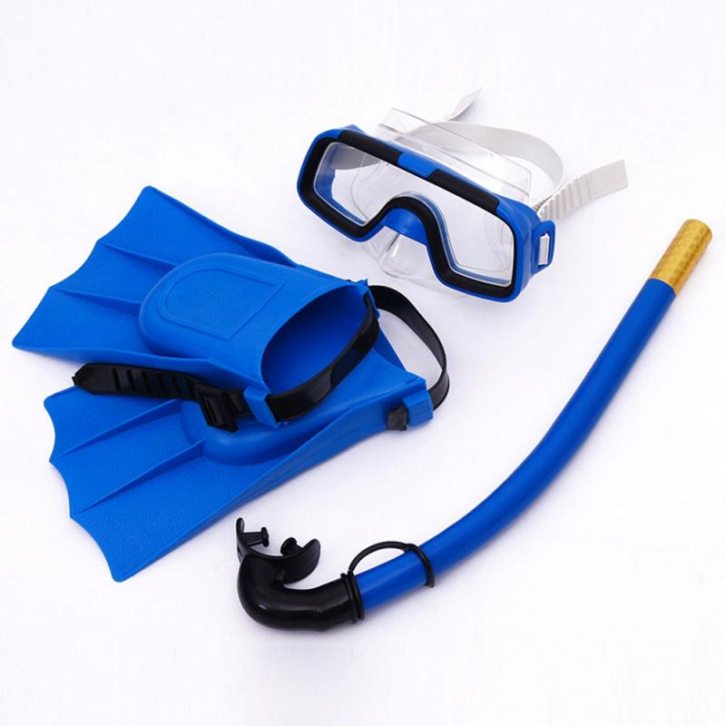 Children Safe Snorkeling Diving Mask+Snorkel Flippers Set PVC High Quality Scuba Swimming Set Water Sports For Kids