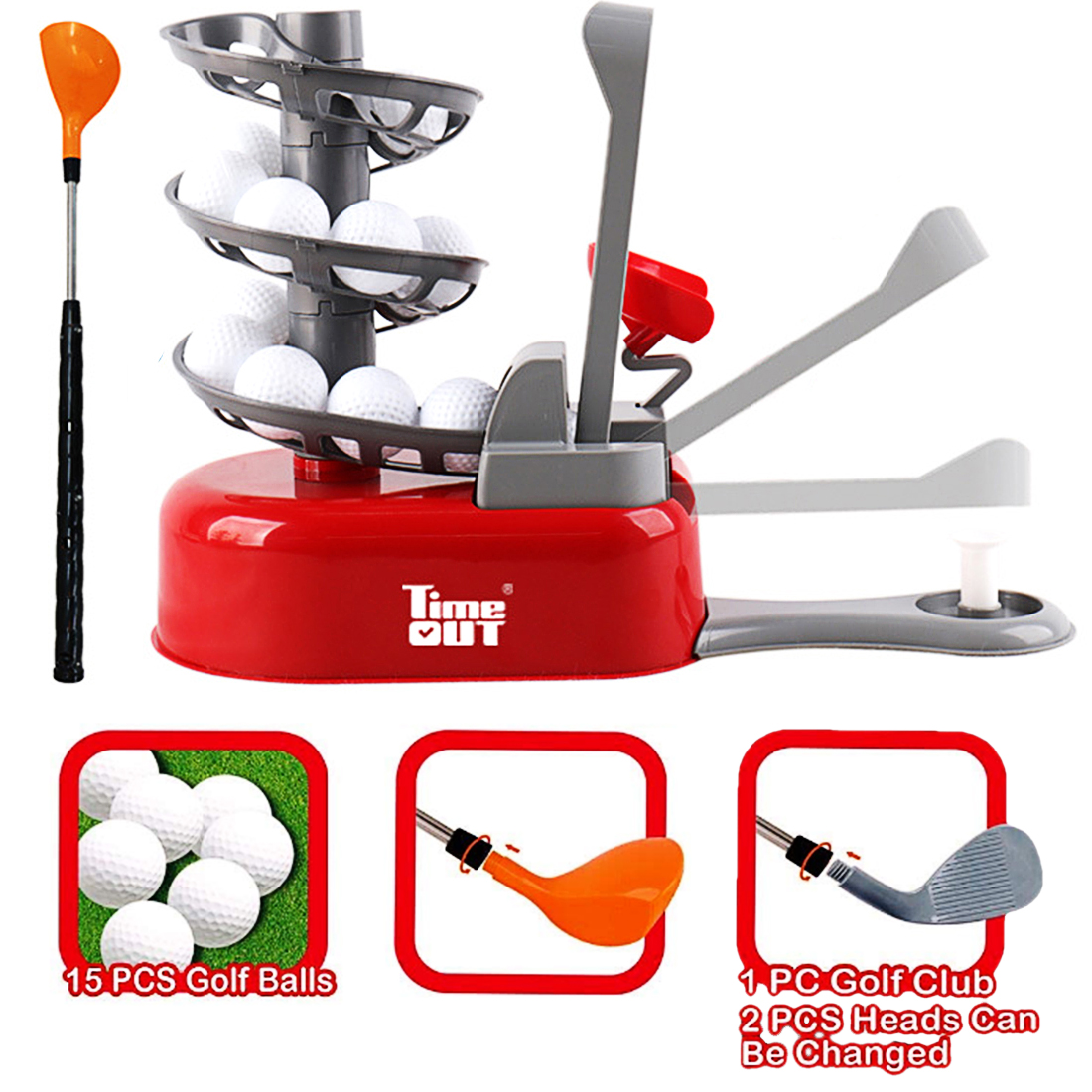 QC101 Golf Practice Trainer Machine Outdoor Toys For Children Red/Yellow