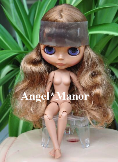 blyth doll with jointed body, brown long hair,dark skin ,Valentine's day present,GHT001