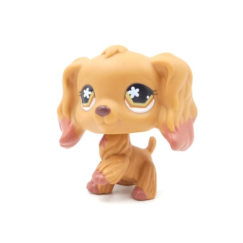 Littlest Pet Shop #716 Brown Rare Cocker Spaniel Dog Flower Eyes LPS Toys