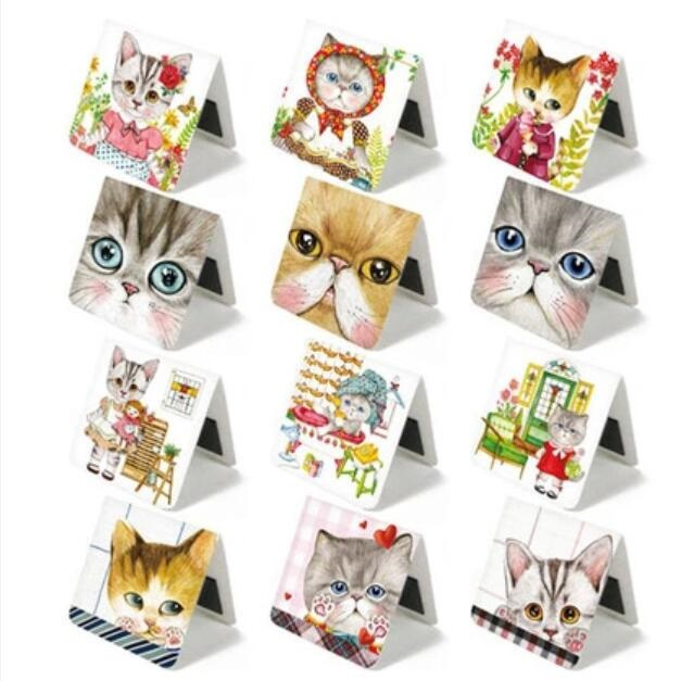 3PCS/pack Per Lot New Square Design Sweet Flower Cat Series Mini Magnetic Bookmark Office School Stationery Supplies