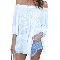 Summer Chiffon Tops Tee For Women Sexy Off Shoulder Slash Neck Short Sleeve Loose T Shirt