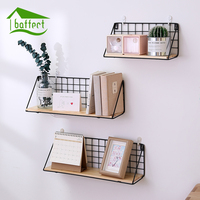Wooden Iron Storage Holders Home Storage Shelf Wall Hanging Storage Box Flower Pots Book Storage Racks
