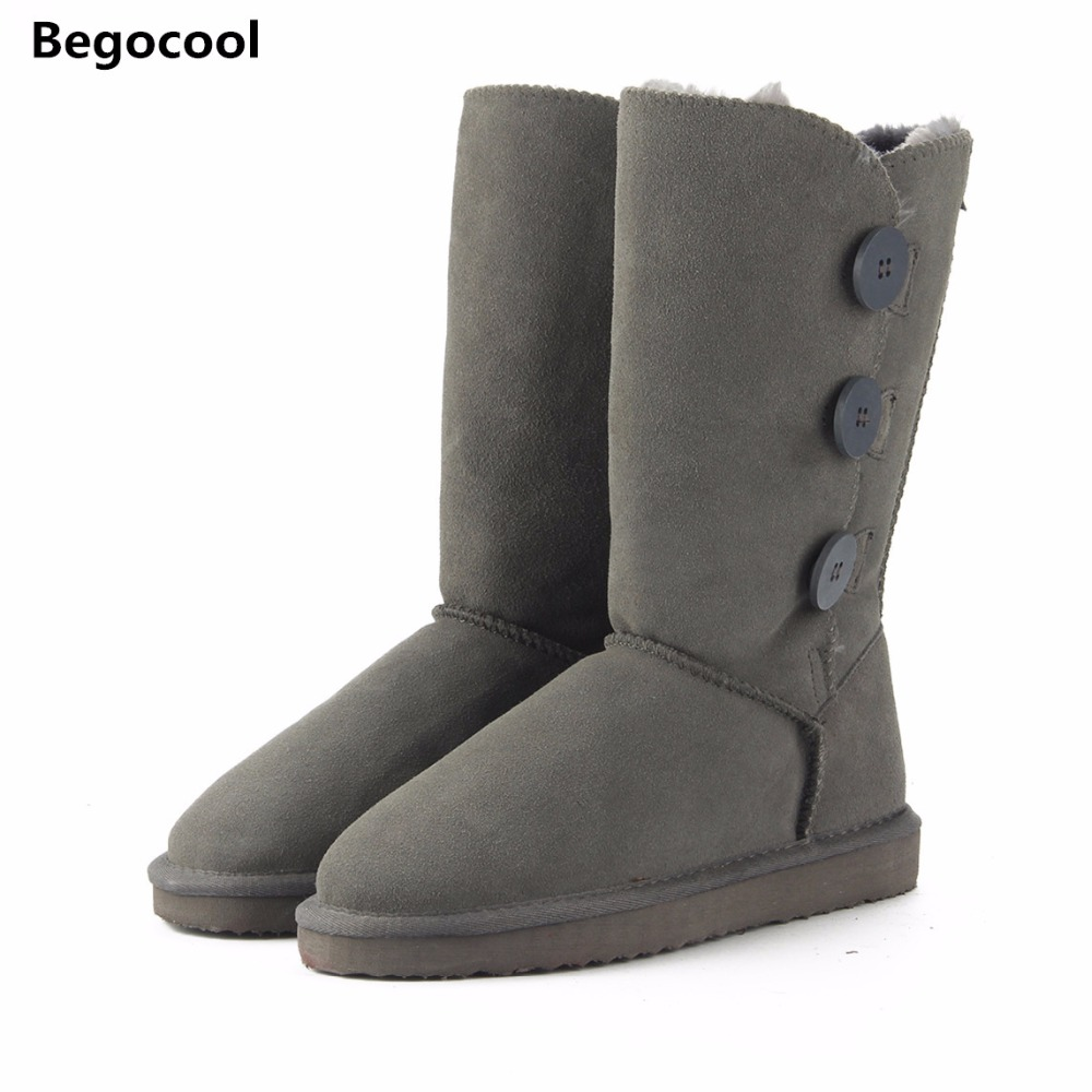 Begocool 2017 UG Classic Women Snow Boots Leather Winter Shoes Boot bota feminina botas mujer zapatos Women Snow Boots US 3.5-13 fashion white silver boots women punk boot shoes woman 2018 spring super cool ankle boots for women bota feminina zapatos mujer