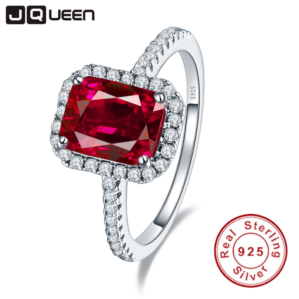 Hot Sale 3.6ct Pigeon Blood Red Ruby Engagement Bröllop Ring Pure Solid 925 Sterling Silver Fyrkantiga Smycken med låda