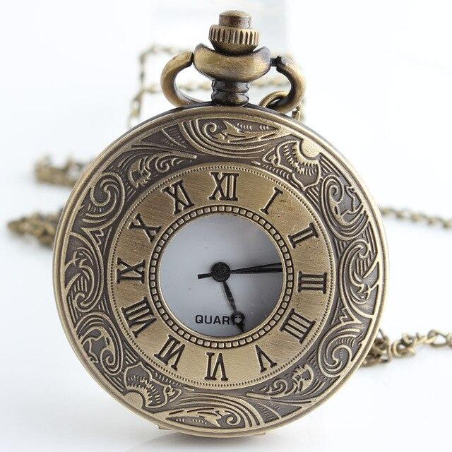 Steampunk Hollow Male Clock Transparent Quartz Broze See Though Face Retro Ver Vintage Pendant Pocket Watch Gift CF1021