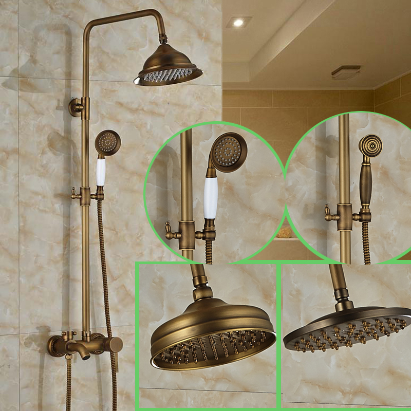 Modern 3 Function Shower Faucet Set Antique Brass 8 Inch Rain Shower Head Tub Mixer Faucet antique brass 8 rain shower faucet set double corss handles tub mixer hand unit
