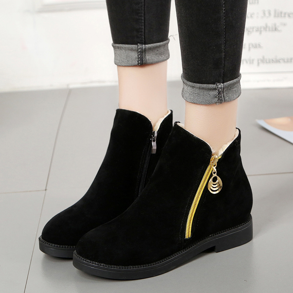 shoes Boots Women Fashion Winter Flat Shoes Martain Suede Zipper Boots Round Toe Keep Warm boots women 2018Oct30