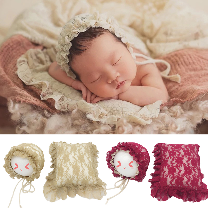 Baby Photo Props Accessories Bebe Girl Lace Hat Posing Pillow 2pcs Set Newborn Infant Pictures Clothing Lace Pillow Beanie