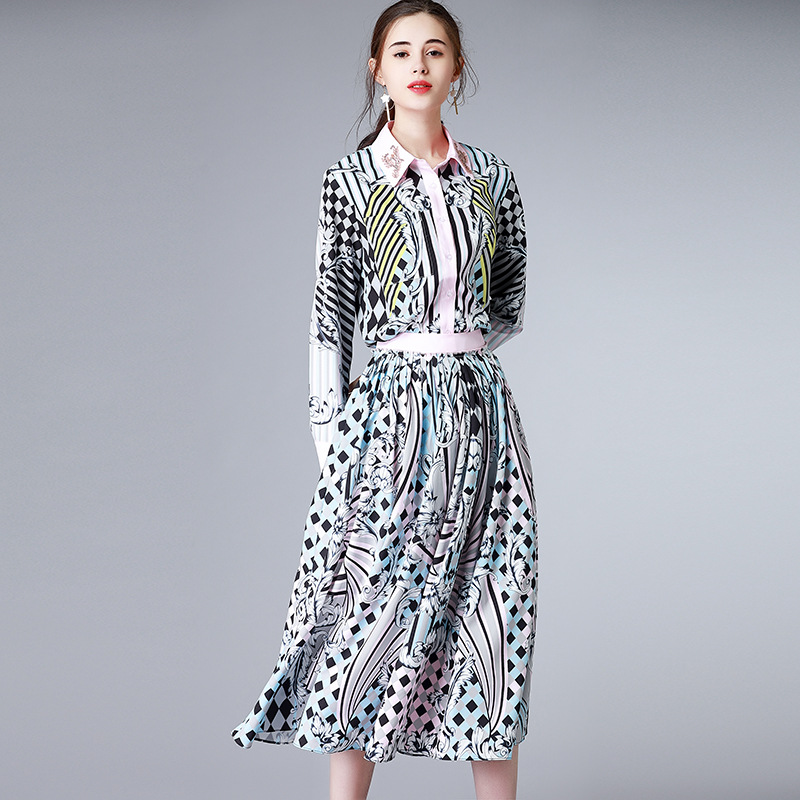 new womens 2018 spring lapel single-breasted shirt + beautifully printed half-length long skirt suit