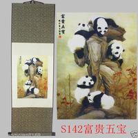 40Chinese SuZhou Silk Art Panda Decoration Scroll Painting Drawing S142 Wall adornment murals home decoration