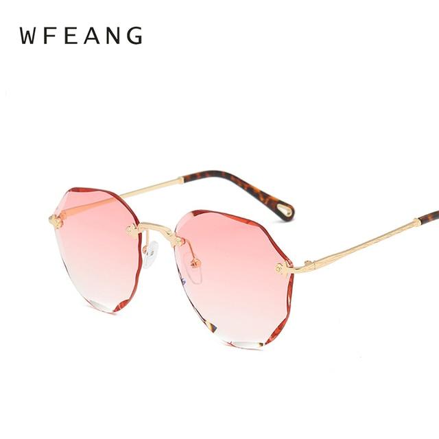 93c9c35c326 WFEANG 2018 Pink Gradient Rimless Sunglasses For Women Oversized Eyewear  New Fashion Sun Glasses Female UV400