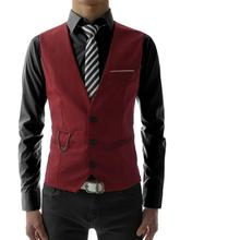 Hot Fashion Men Jacket Suit Slim Fit Vest Casual Business Formal Vest Waistcoat high quality custom