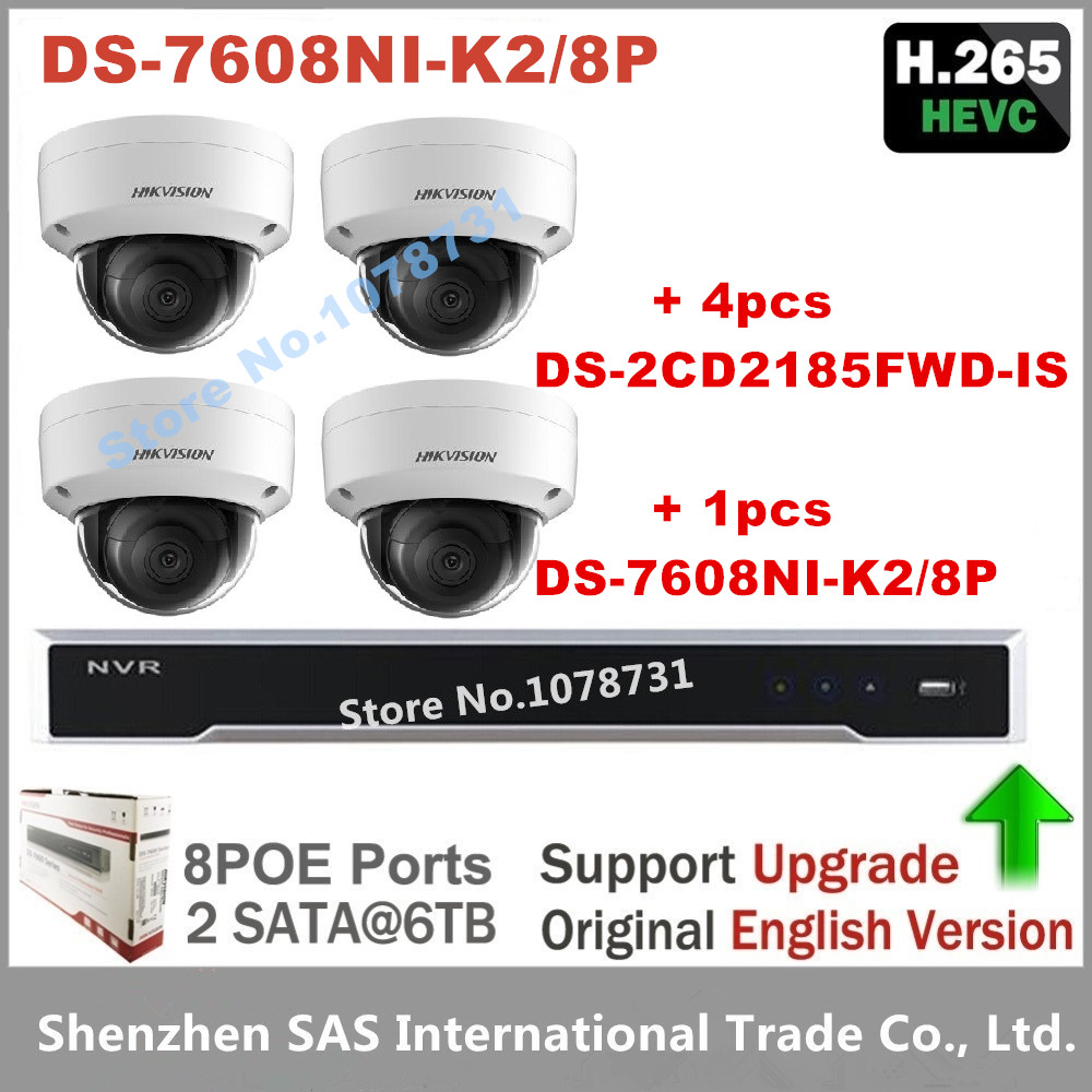 4pcs Hikvision H.265 IP Camera DS-2CD2185FWD-IS 8MP Video Surveillance + Hikvision DS-7608NI-K2/8P Embedded Plug & Play 4K NVR 4pcs hikvision surveillance camera ds 2cd2155fwd i 5mp dome h 265 ip camera hikvision ds 7604ni k1 4p 4ch 4poe 4k nvr one sata