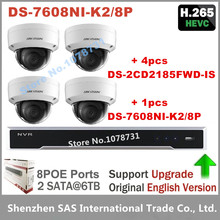 4pcs Hikvision H.265 IP Camera DS-2CD2185FWD-IS 8MP Video Surveillance + Hikvision DS-7608NI-K2/8P Embedded Plug & Play 4K NVR