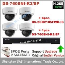 Hikvision H.265 IP Камера видеонаблюдения Наборы 4 шт 8MP IP Камера + Встроенный Plug & Play 4 K NVR 8CH 8POE 2 SATA 8MP Разрешение