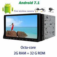 7 '' Android 7.1 GPS Araç Stereo 2din DVD Oynatıcı Sürgülü 8-core Multitouchscreen destek OBD2, DAB +, Dijital TV + Kablosuz Geri Kamera