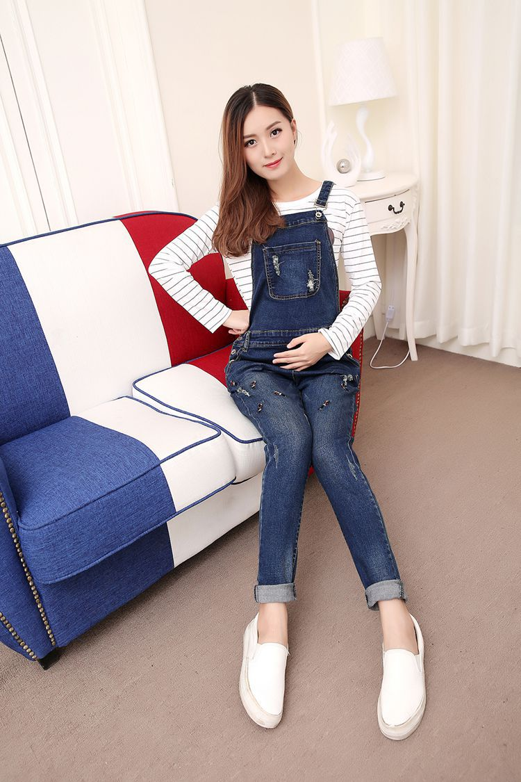 Maternity Clothing Pants Spring Autumn Cotton Jeans Plus Size Overalls Pregnant Women`s Large Size Suspender Trousers Trousers 2017 spring and summer womens denim bib pants overalls female popular loose plus size cargo pants jeans suspender trousers
