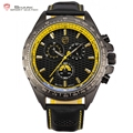 Frilled Shark Sport Watch Men Series Relogio Masculino Yellow Style 6 Hands Day Black Leather Strap Montre Quartz-Watch / SH195