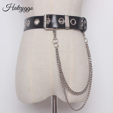 HATCYGGO Fashion Women Belts Genuine Leather Belt Chain With Metal Unisex All Match Female Waist Adjustable Strap