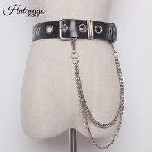 HATCYGGO cinturones de moda para mujeres, cinturón de cuero genuino con cadena de Metal Unisex, cadena de cintura que combina con todo, correa ajustable